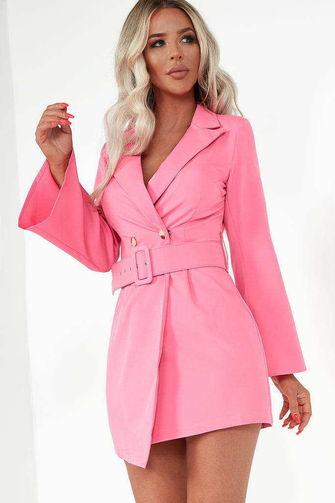 Bethany Pink Gold Button Blazer Dress