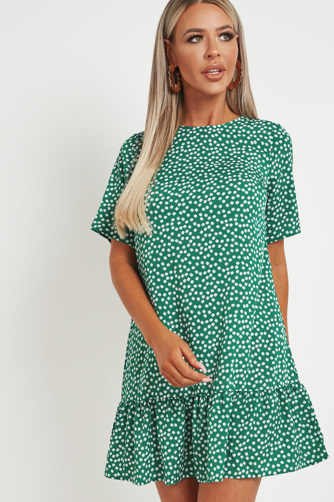 Bettie Green Floral Frill Hem T-shirt Dress