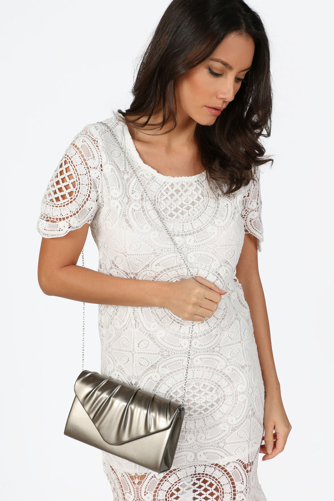 Bev Pewter Structured Envelope Bag