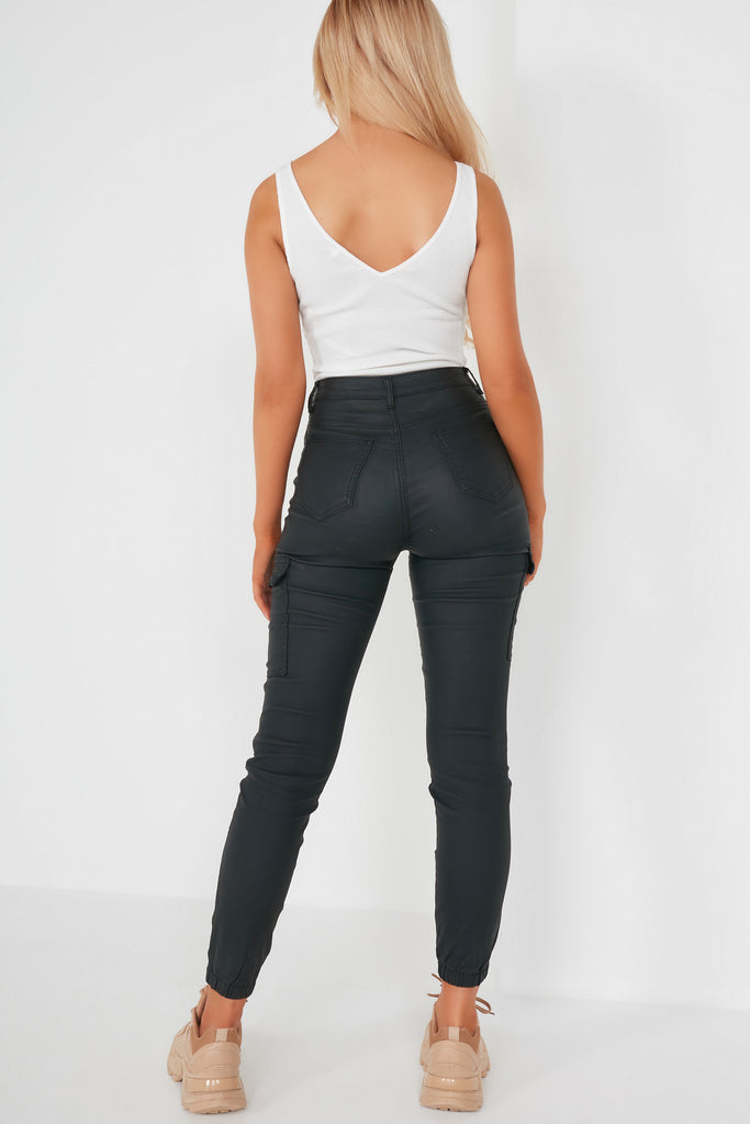 Bianca Black Wax Cargo Trousers
