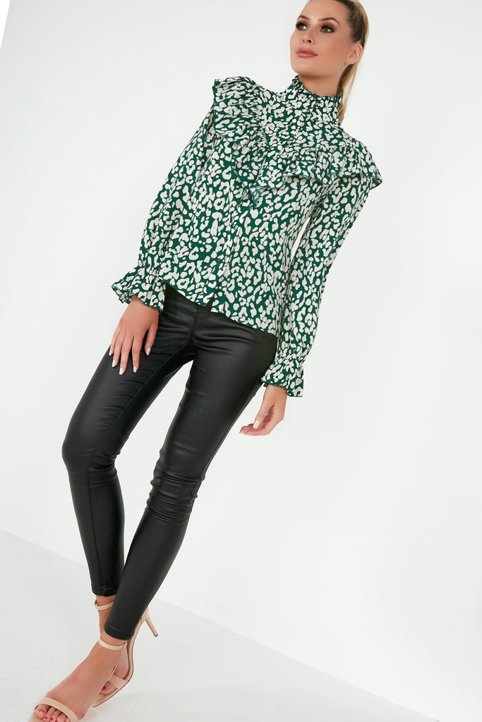 Bianca Green Animal Print Frill Blouse