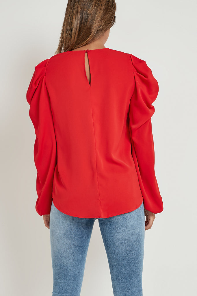 Bianca Red Puff Sleeve Loose Fit Top