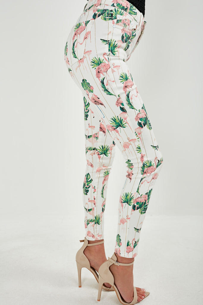 Biddy Cream Flamingo Print Jeans