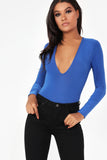 Bina Royal Blue Slinky V Neck Bodysuit