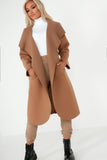 Blaine Tan Hooded Waterfall Coat