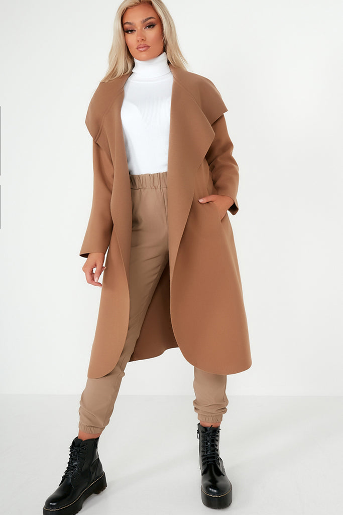 Blaine Tan Hooded Waterfall CoatBlaine Tan Hooded Waterfall Coat