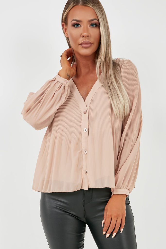 Blair Nude Button Front Crinkle Blouse