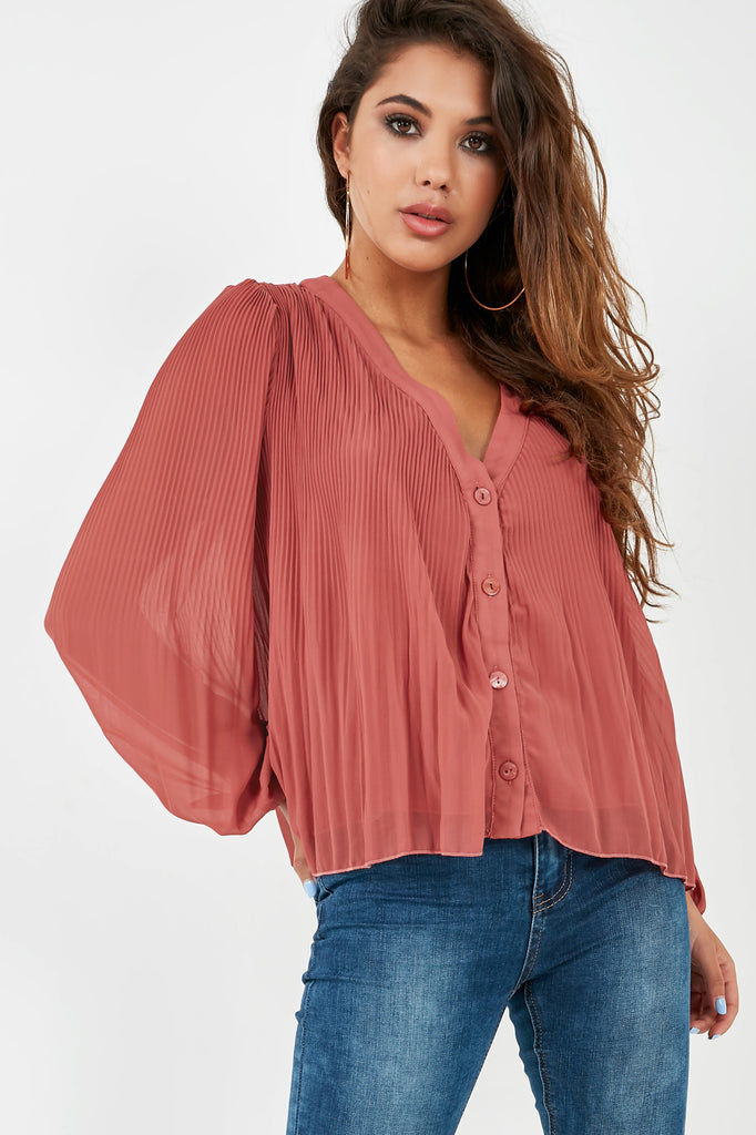 Blair Raspberry Button Front Crinkle Blouse (2000214622274)