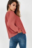 Blair Raspberry Button Front Crinkle Blouse