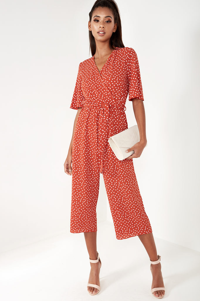 Blake Rust Polka Dot Wrap Jumpsuit