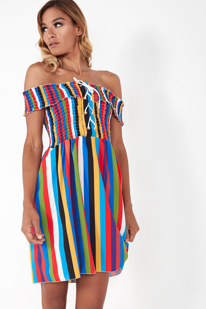 Blossom Multi Striped Bardot Dress
