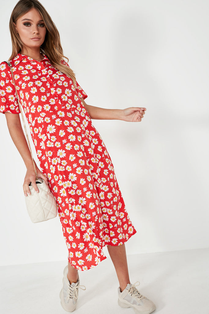 Bo Red Daisy Print Midi Dress
