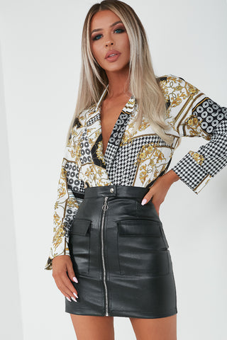 e5bc61d797 Bola Black and Gold Scarf Print Bodysuit