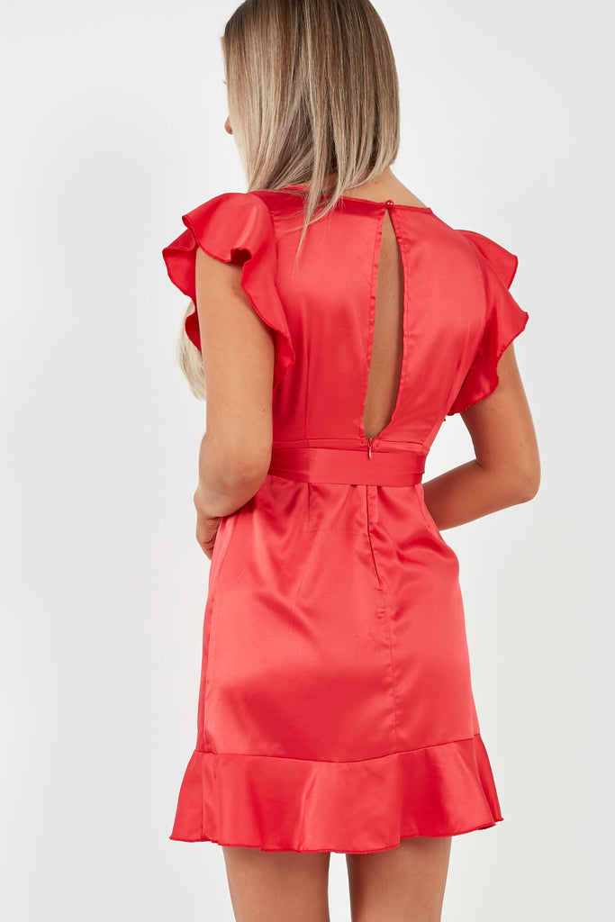 Bola Red Satin Belted Frill Dress (2016772259906)