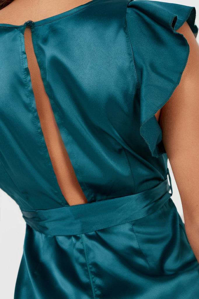 Bola Teal Satin Belted Frill Dress (2032576757826)