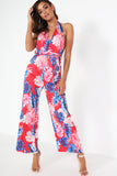 Bonda Red Tropical Print Jumpsuit