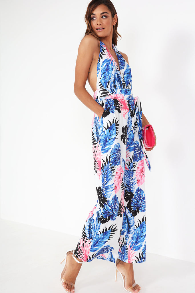 Bonda White Tropical Print Jumpsuit
