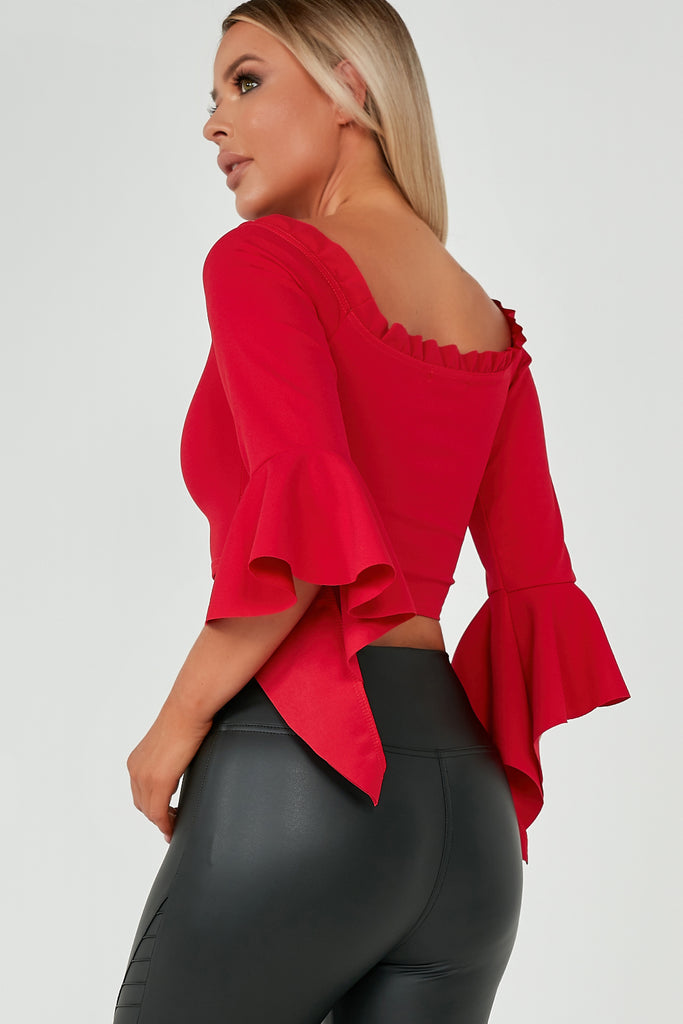 Bonita Red Flared Sleeve Crop Top