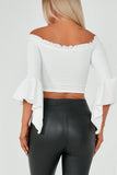 Bonita White Bardot Crop Top