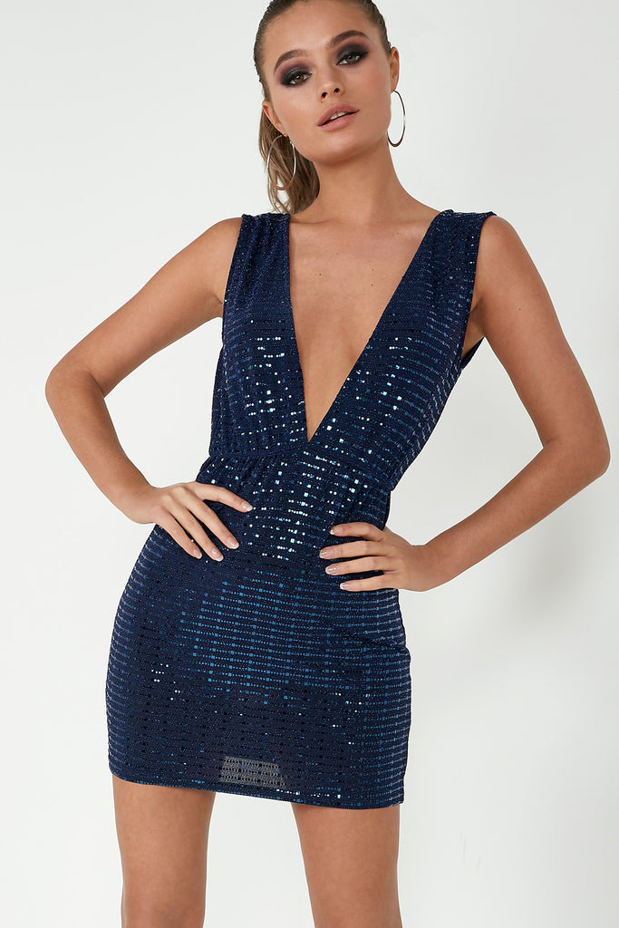 Brandie Navy Sequin Plunge Dress