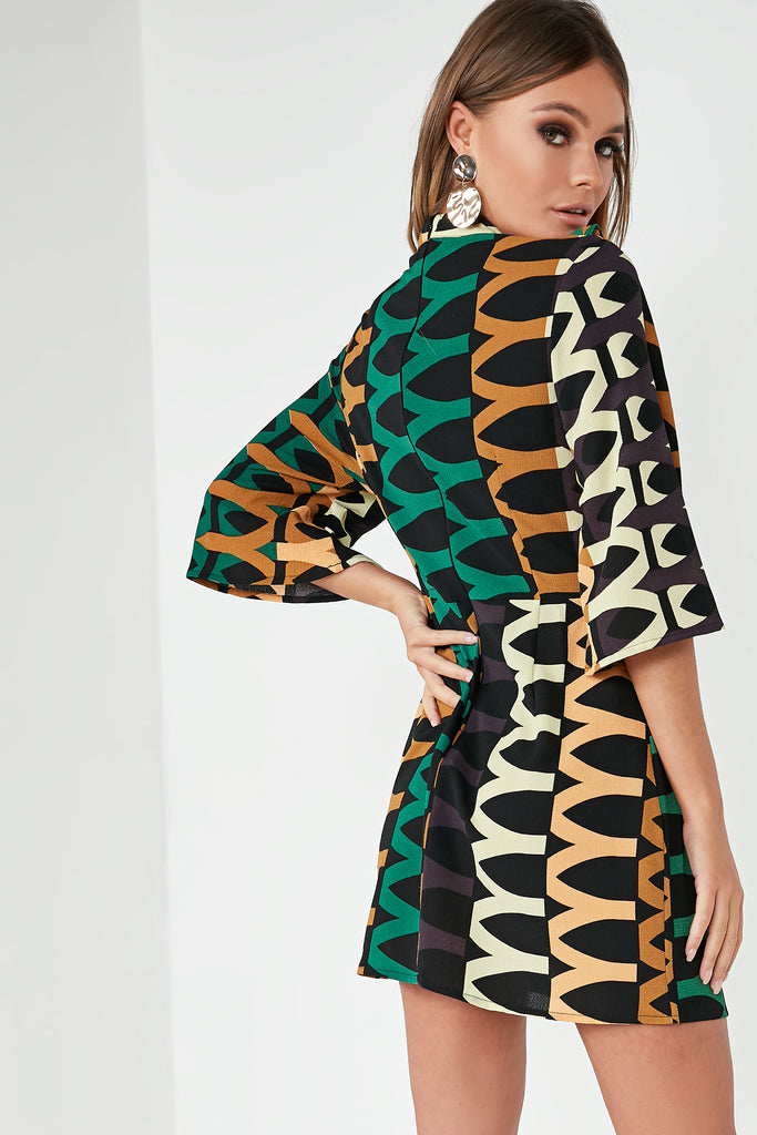 Breanna Green Aztec Print Frill Dress