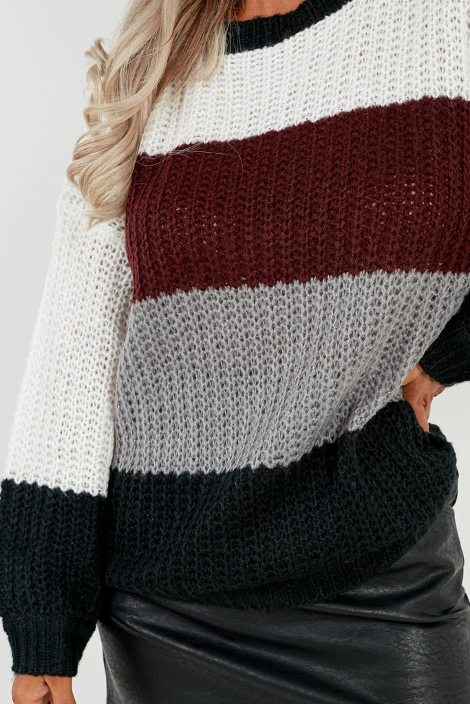 Breanna Plum Colour Block Oversized Jumper (2032902897730)