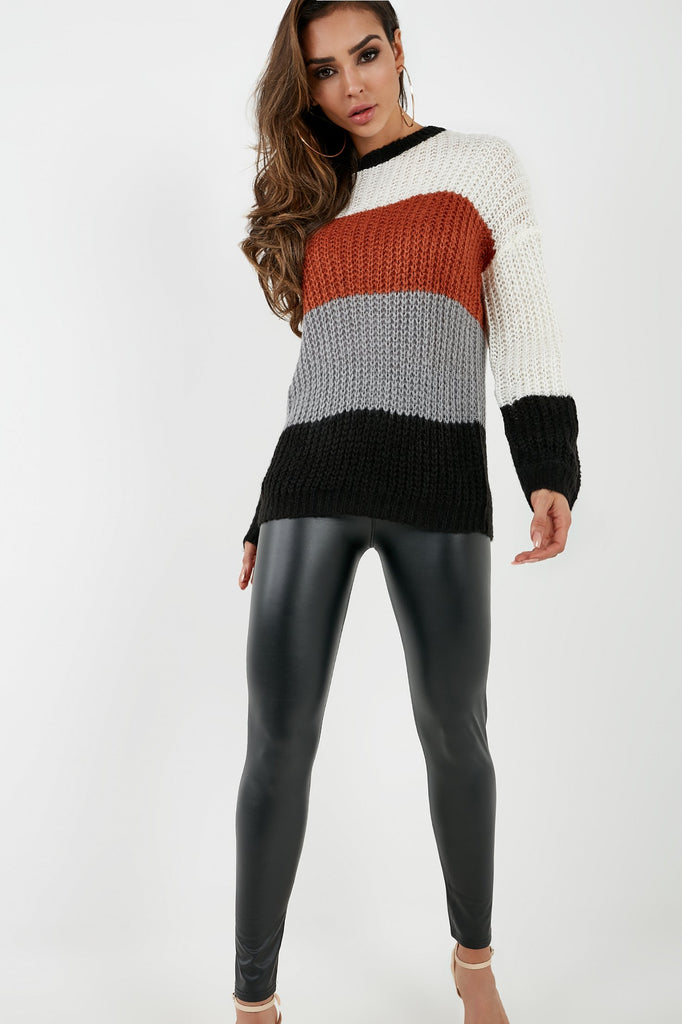 Breanna Rust Colour Block Oversized Jumper