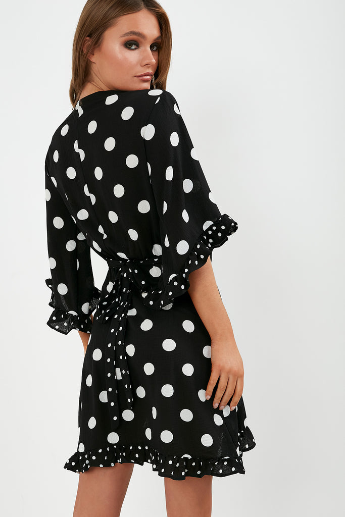 Breda Black Polka Dot Wrap Front Mini Dress