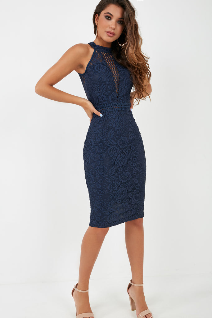 Bree Navy Lace Halterneck Midi Dress
