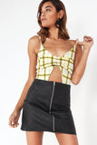 Brefeny Yellow Check Cut Out Bodysuit