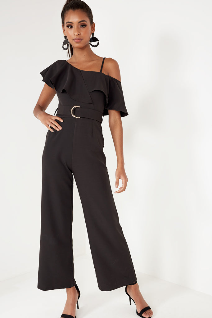 Bren Black Frill Sleeve Wide Leg Jumpsuit