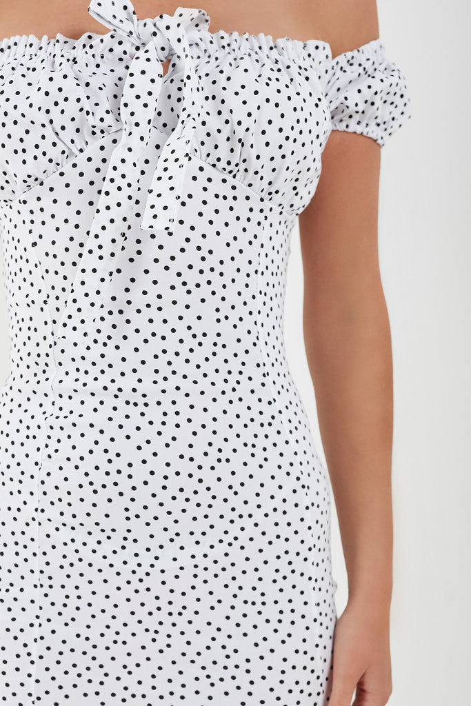 Brenda White Polka Dot Bardot Dress (1922961834050)