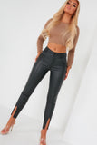 Brenny Black Split Hem Leather Trousers