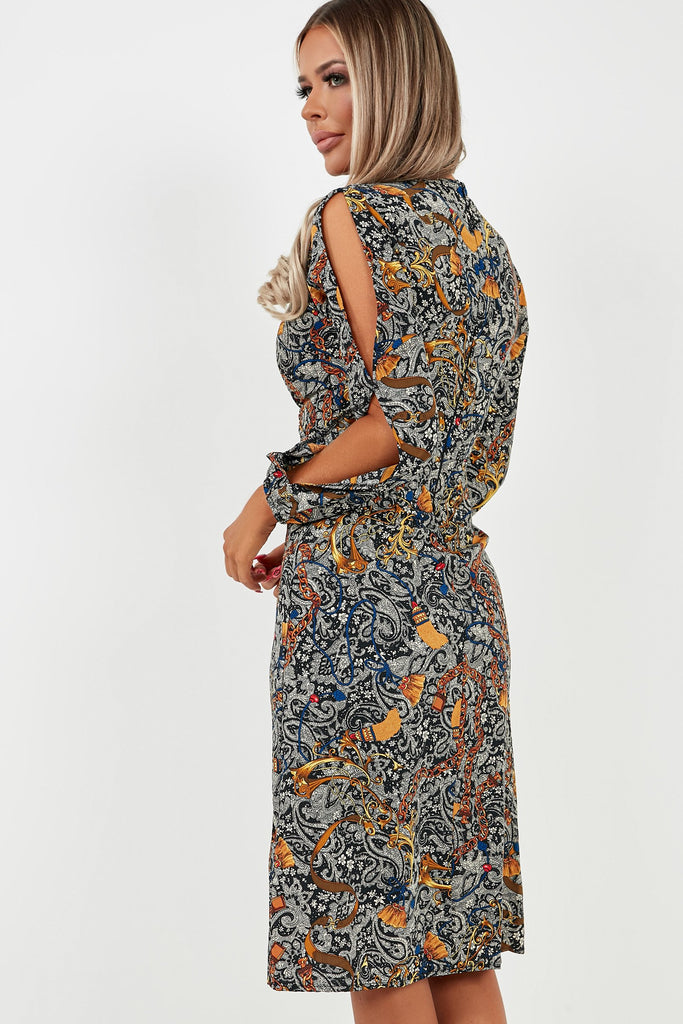 Brid Black and Gold Chain Print Midi Dress (4118535995458)