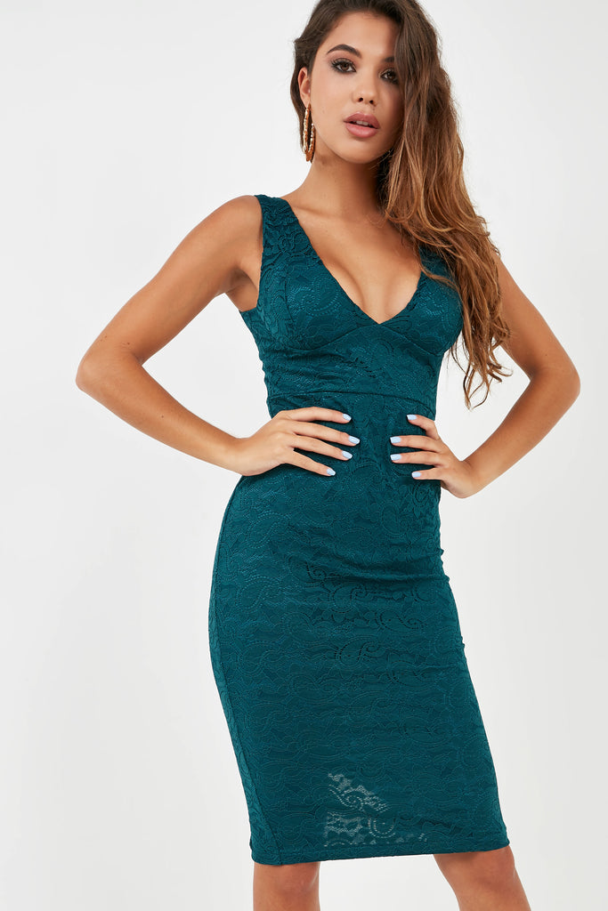 Bridget Teal Lace Midi Dress (1996630130754)