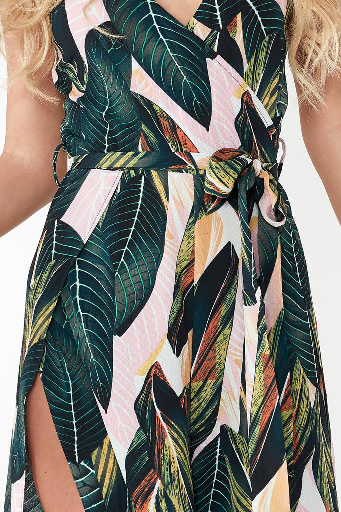 Brielle Green Leaf Print Cami Jumpsuit
