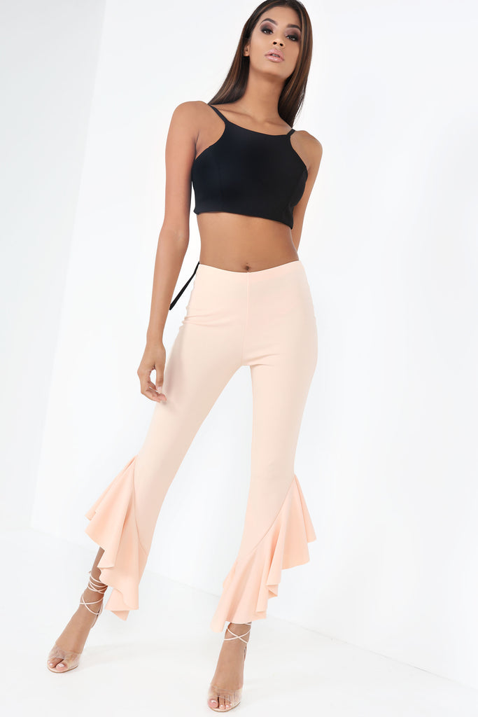 Briley Peach Flared Frill Trousers