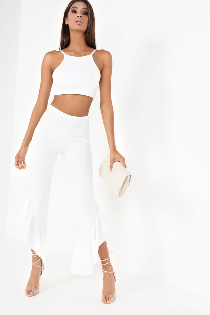 Briley White Flared Frill Trousers