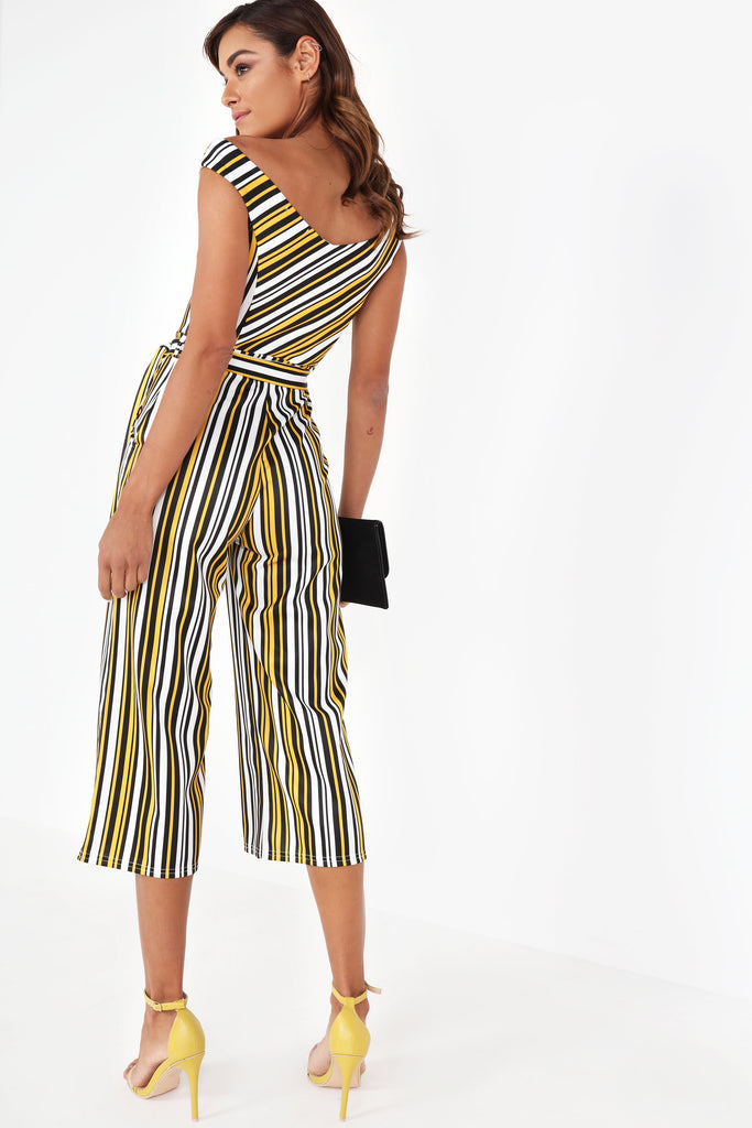 Brisa Yellow Striped Bardot Jumpsuit