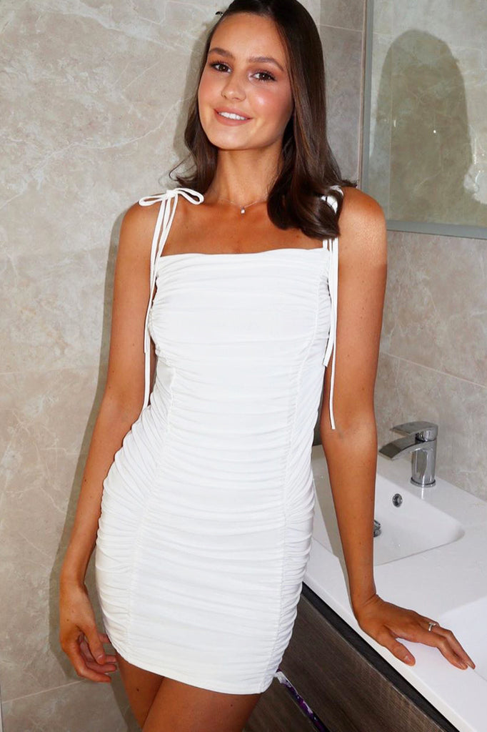 Britta White Ruched Slinky Mini Dress