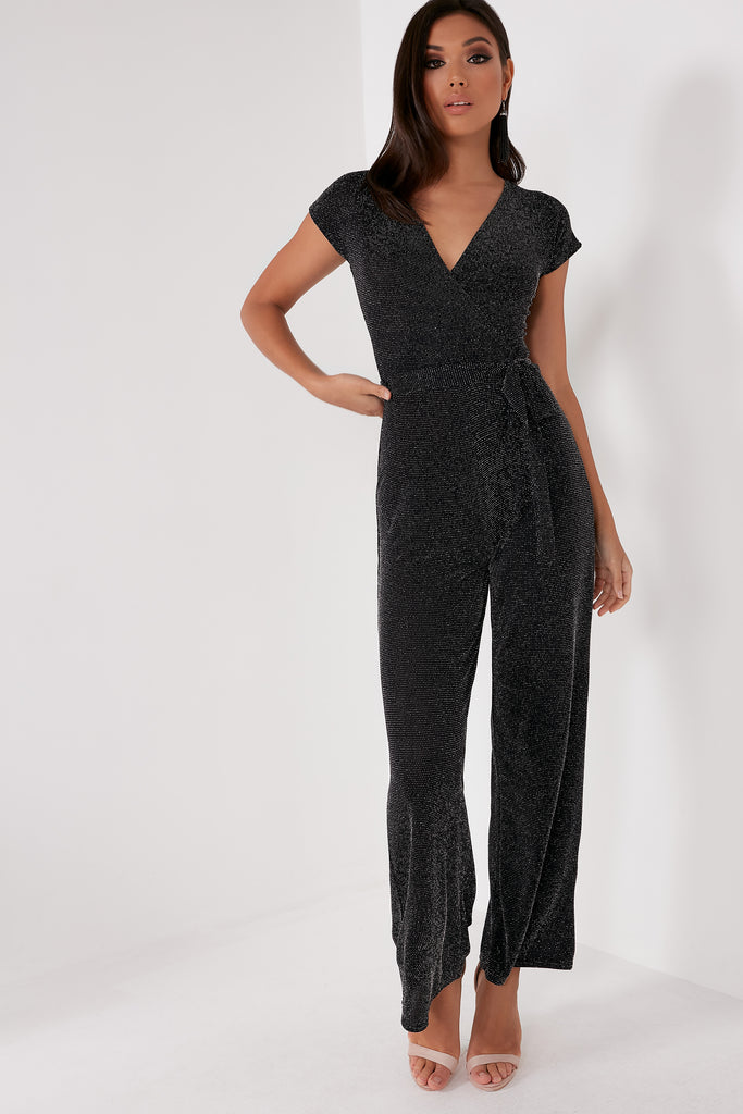 Brittany Black Glitter Wrap Jumpsuit