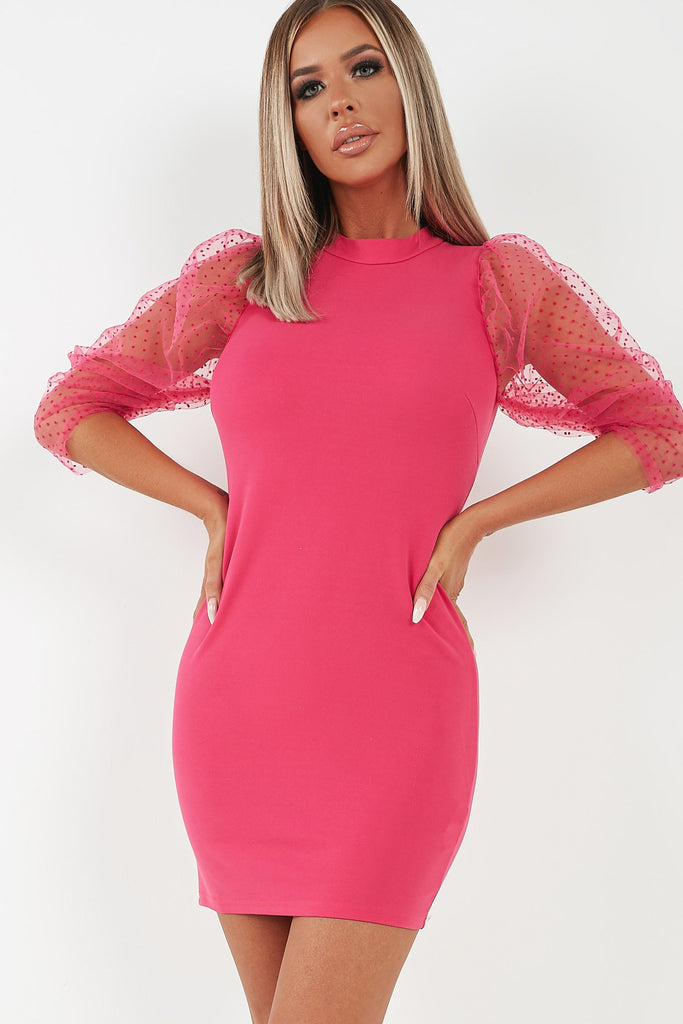 Brodie Pink Dobby Mesh Puff Sleeve Dress (4344528732226)