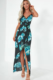 Brody Turquoise Palm Print Maxi Dress