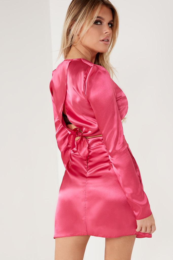 Bronte Pink Satin Skirt Co Ord