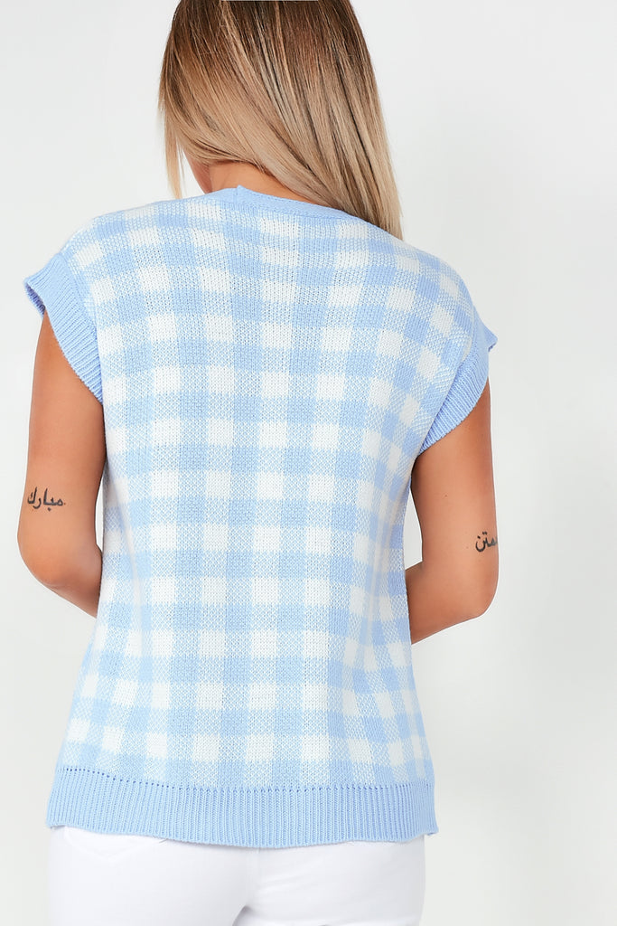 Brooke Blue Check Tank Cardigan
