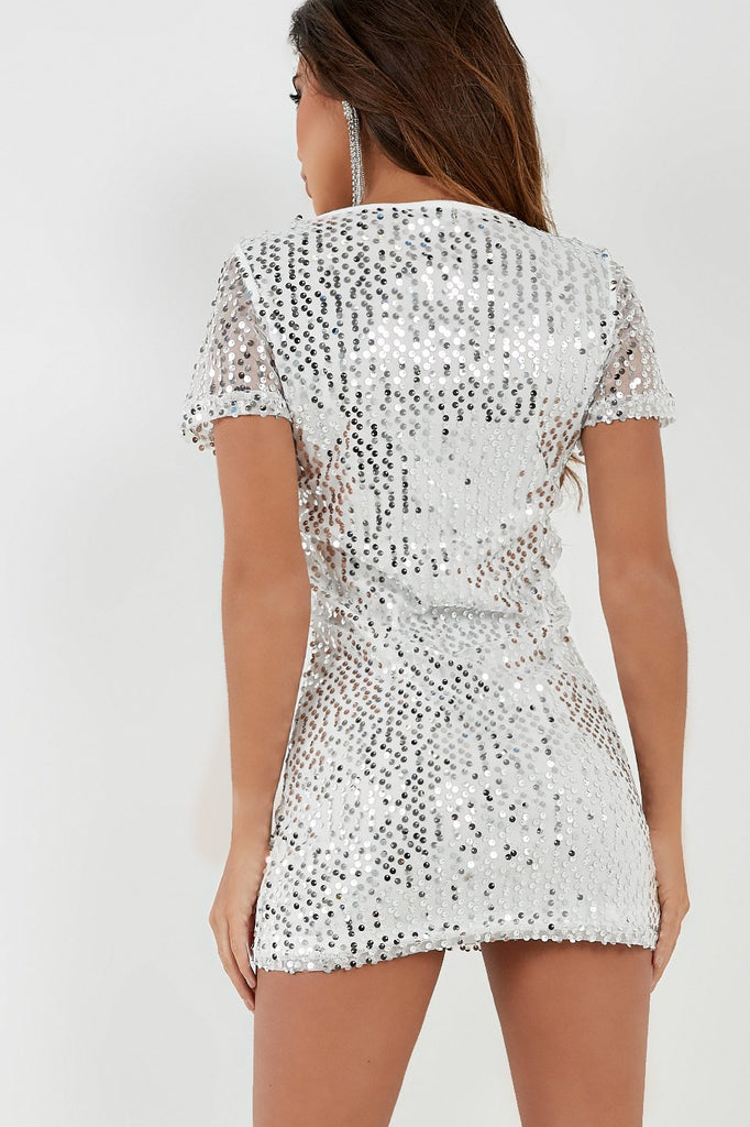 Brooke White Sequin Shift Dress (4334512308290)