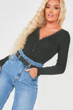 Bryonny Black Ribbed Button Front Bodysuit
