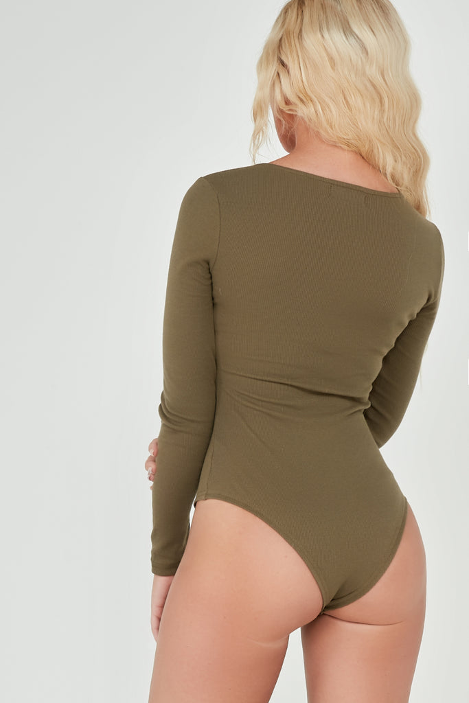 Bryonny Khaki Ribbed Button Front Bodysuit