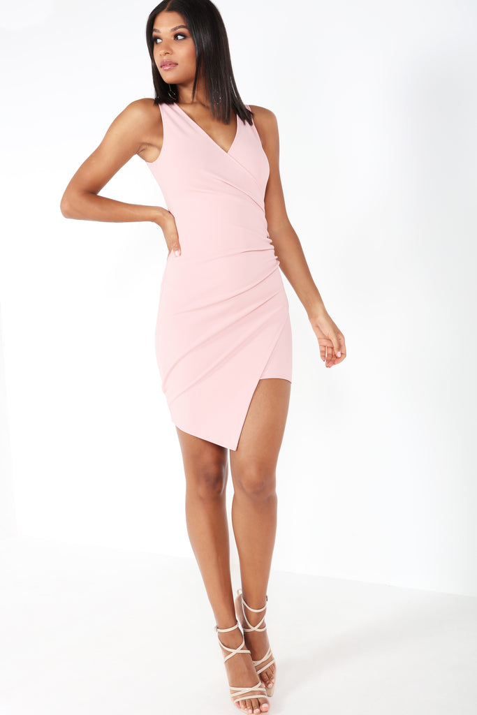 Buffy Pink Ruched Asymmetric Dress