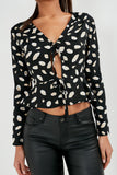 Cace Black Abstract Print Tie Front Blouse